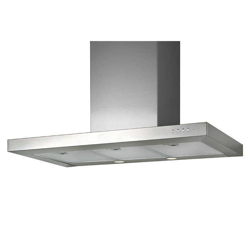 IS 48 - Island hood Stainless Steel - Curved Glass design