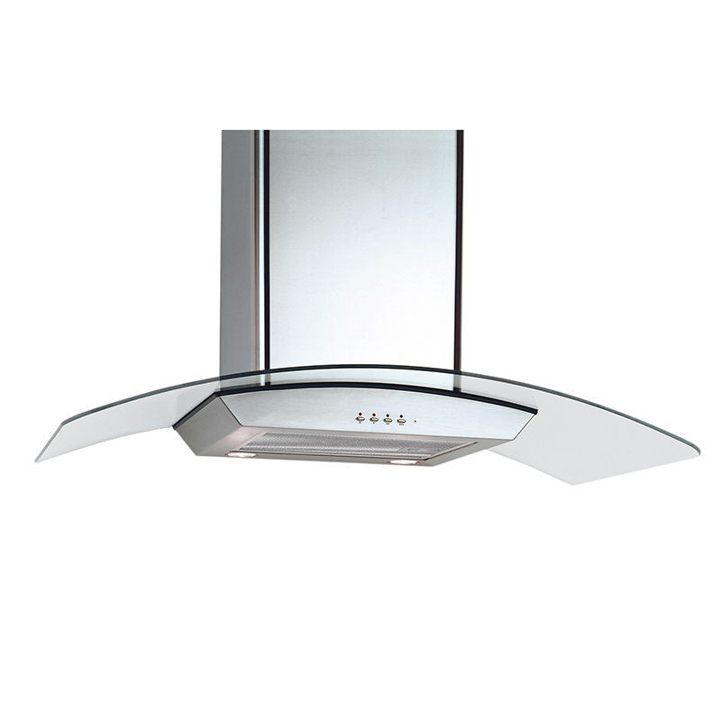 Wall hood Stainless Steel - Curved Glass design