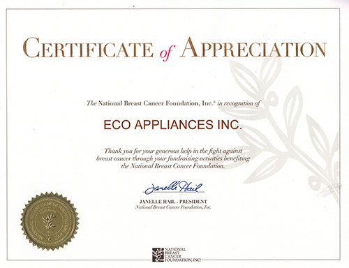Certificate of Appreciation - National Breast Cancer Foundation
