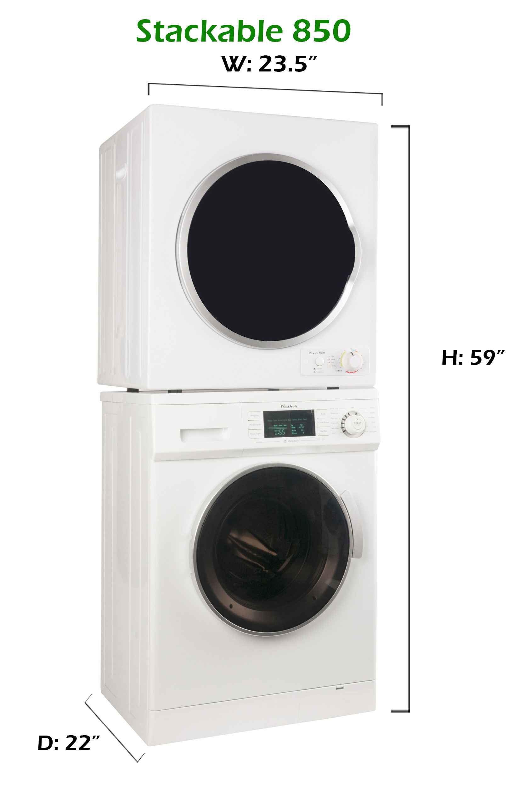 conserv Stackable Washer Dryer Set CW 824 & CD 850 V