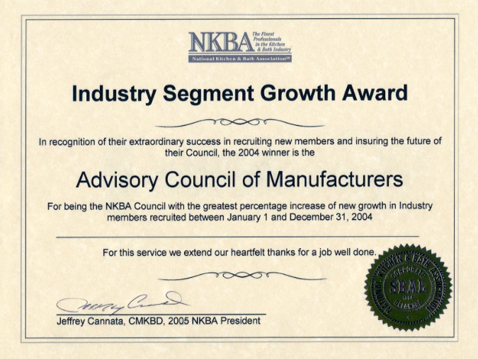 NKBA Industry segment growth award