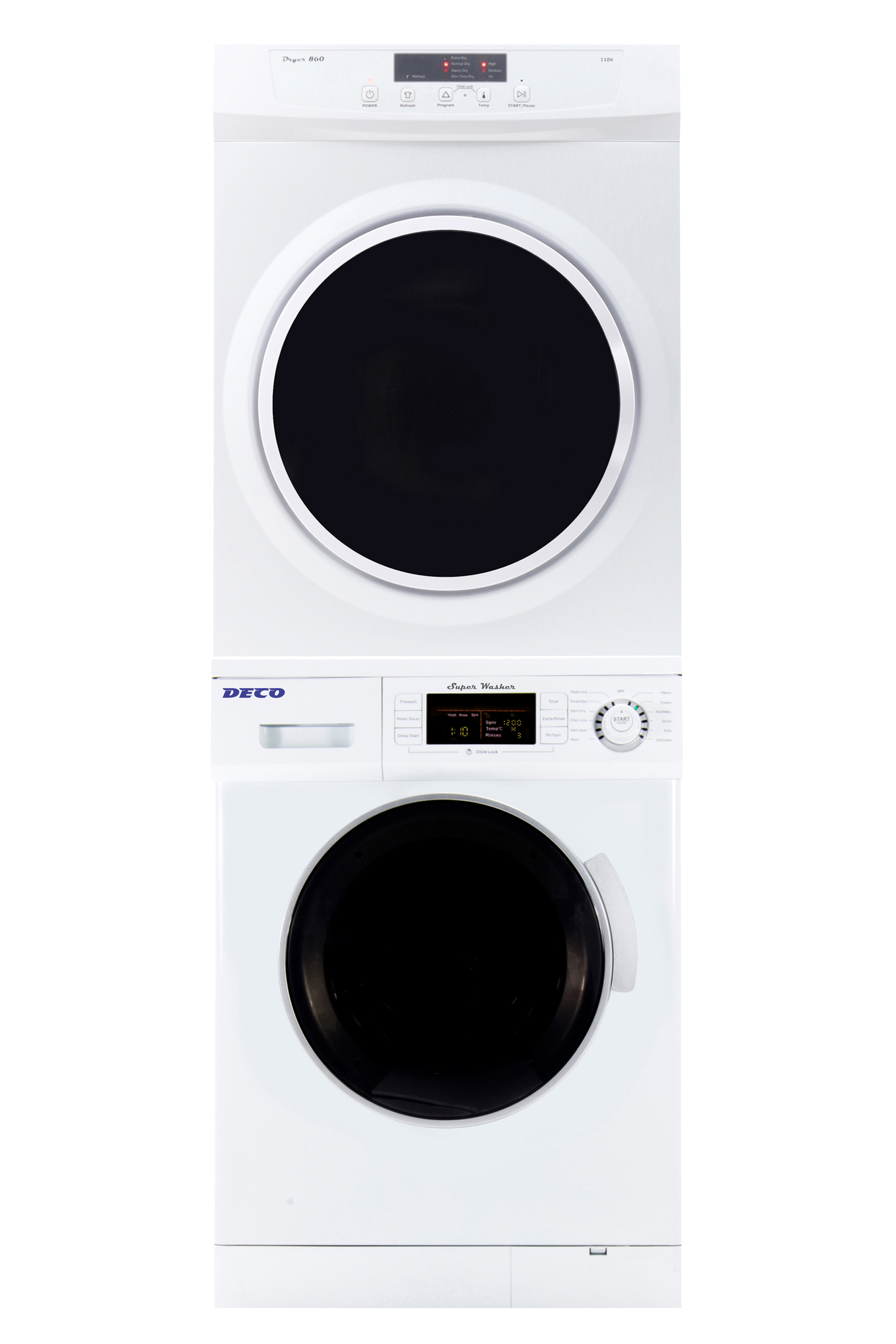 Deco Stackable Washer Dryer Set DW 824 & DD 860