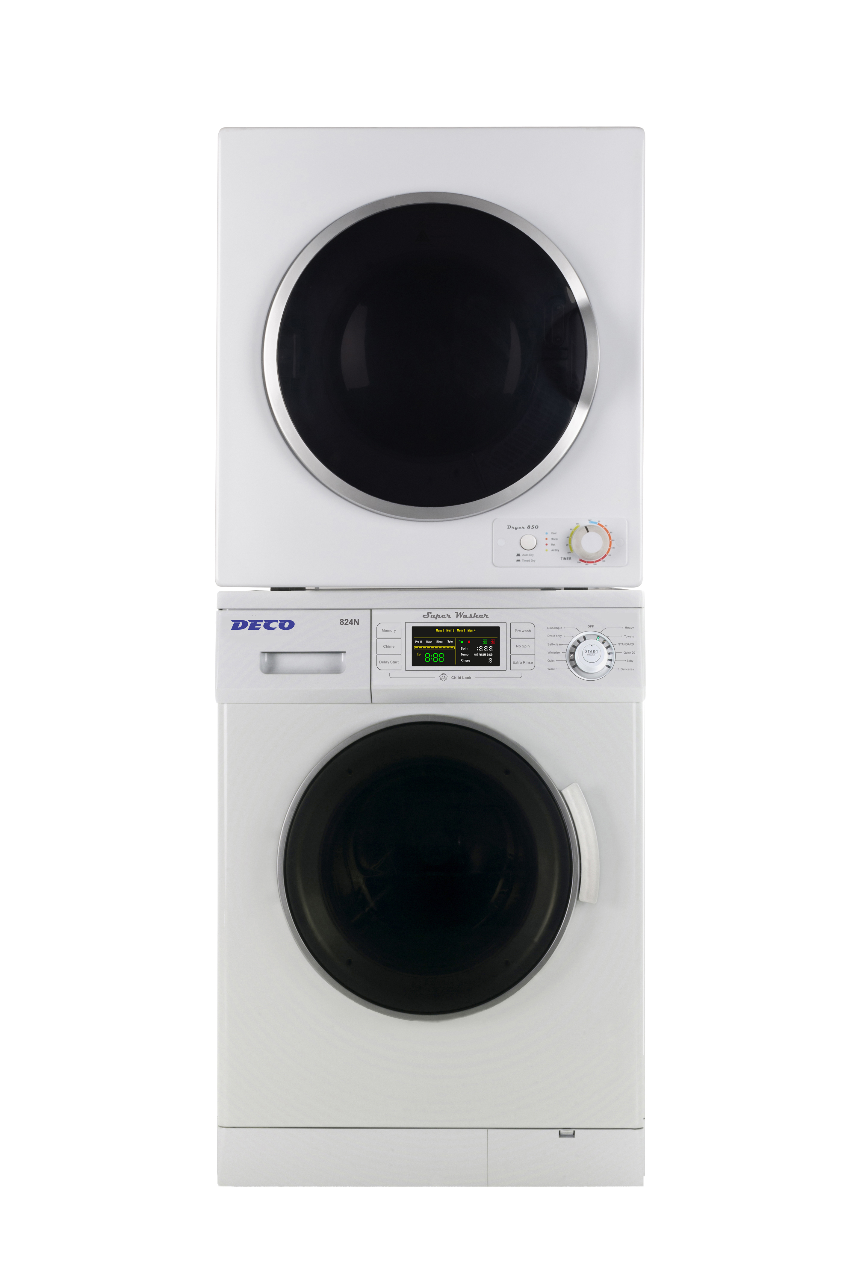Deco Stackable Washer Dryer Set DW 824 + DD 850 V