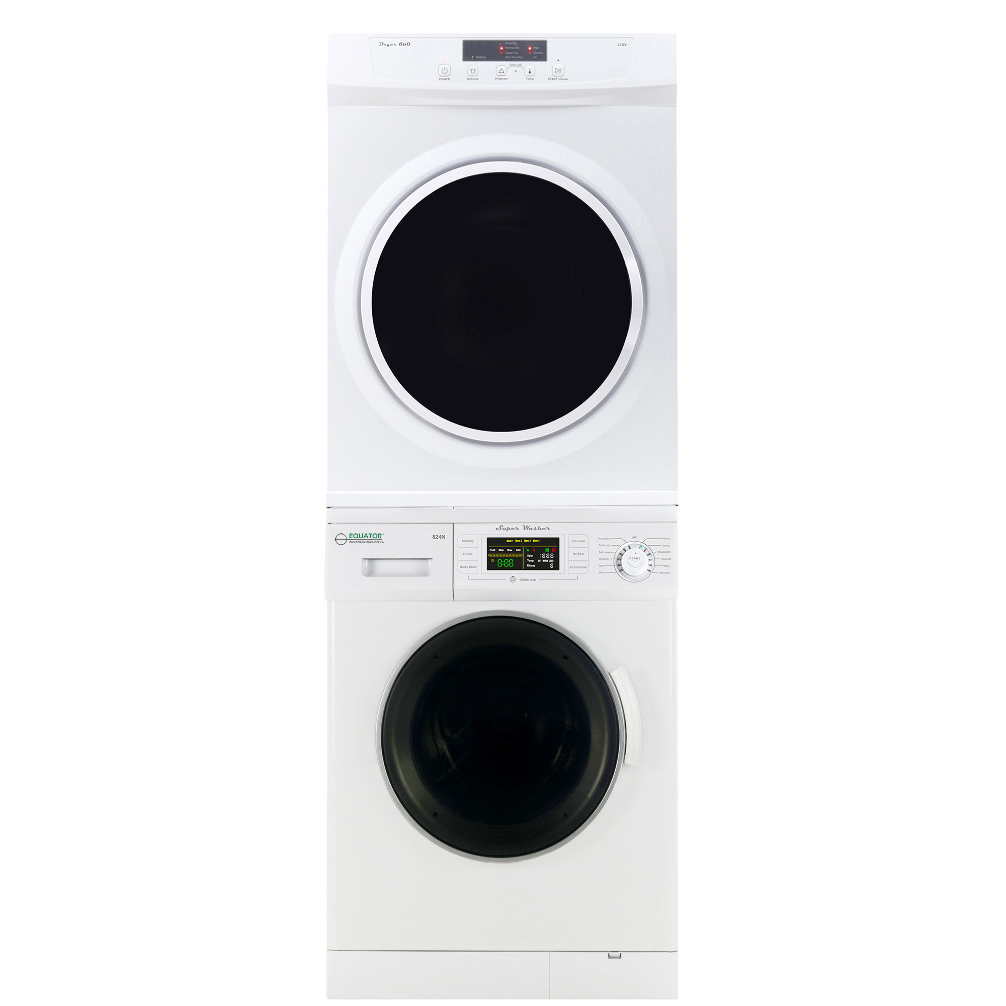 Equator Stackable Washer Dryer Set EW 820+ED 860 V