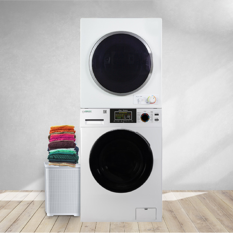 Space-saving  Stackable Washer and Dryer set with Sanitize, Allergen, Quiet, Winterize and Auto-Dry Features