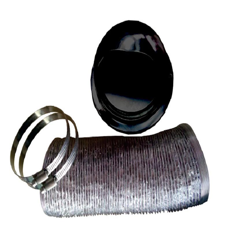Outside vent kit w/ damper (Black) (OVK 1065)