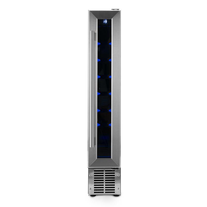 Slim Wine Refrigerator, Capacity 9 bottles - Stainless - Compressor Cooling